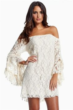 White Trumpet Sleeve Off The Shoulder Lace Dress