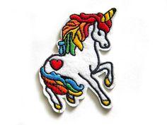 """Unicornio bordado parche - planchar o coser apliques a 3 1/4""""- arco iris"""