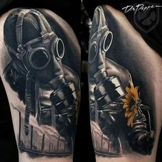 Full black and white tattoos with a single coloured focal point blow my mind. Great piece!