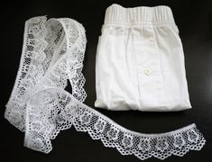 Make your very own lace shorts. I would wear mine under many a' too short dresses.