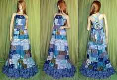 Blue-Long-Hippie-Patchwork-Festival-Dress