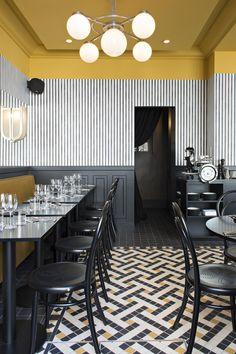 Bistro Epoca, Art Deco restaurant in Paris, design by Emily Bonaventure Interior Design Minimalist, Restaurant Interior Design, Best Interior, Interior Design Kitchen, Modern Interior Design, Interior Decorating, Decorating Ideas, Restaurant Interiors, Luxury Interior