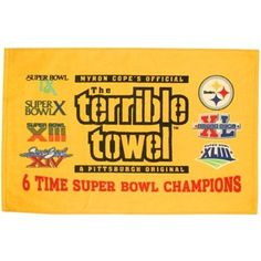Pittsburgh Steelers Terrible Towel 6 Time Super Bowl Champs Limited Edition for sale online Steelers Gifts, Go Steelers, Steelers Stuff, Pittsburgh Steelers Football, Pittsburgh Sports, Football Team, Steelers Terrible Towel, Pitt Panthers, Steeler Nation