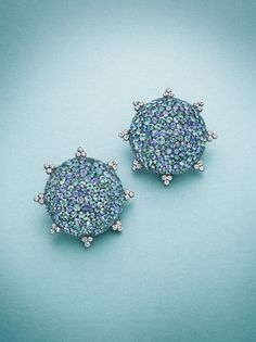 A multi-colored gem-set and diamond earclips, by JAR