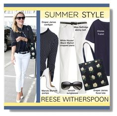 Summer Style - Reese Witherspoon by lgb321 on Polyvore featuring polyvore, fashion, style, Draper James, White House Black Market, Manolo Blahnik, Miss Selfridge and clothing
