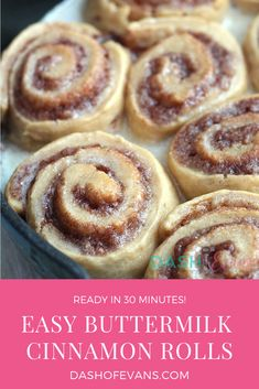 30 Minute Easy Buttermilk Cinnamon Rolls – Dash Of Evans This is the easiest cinnamon roll recipe ever. No waiting for dough to rise, just mix up in one bowl and bake! Check out this Buttermilk Cinnamon Roll recipe on Ashleigh Evans Biscuit Cinnamon Rolls, Cinnabon Cinnamon Rolls, Best Cinnamon Rolls, Baking Recipes, Snack Recipes, Bread Recipes, Breakfast Recipes, Snacks, Buttermilk Recipes