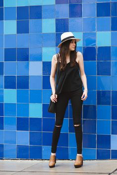 Hat by Aritzia, Top-Forever 21, Skinny Jeans- TopShop, Clogs -LuckyBrand