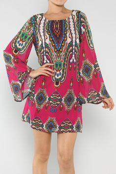 Ethnic Tunic Dress #wholesale #clothing #pink #fashion #fall #October #love #ootd #wiwt #shorts #skirts #dresses #tanks #jeans #denim #tops #outerwear
