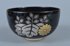 K2849-Japanese-Kiyomizu-ware-Black-glaze-Gold-paint-TEA-BOWL-Ikkan-made