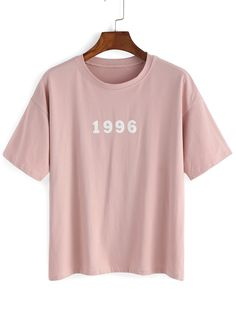 T-shirt imprimé chiffres lettres manche courte -rose-French SheIn(Sheinside)