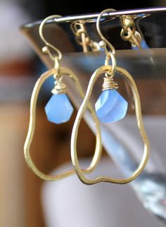 Sky Blue Chalcedony in abstract pear shaped matte gold hoop earrings, hand made by CaliforniaEclectic