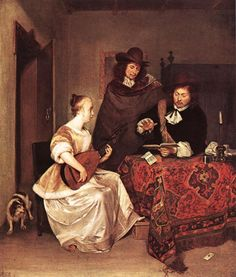 A Woman playing a Theorbo to Two Men, c. 1667-8, by Gerard ter Borch (Dutch, 1617-1681).