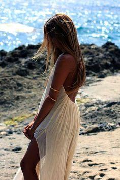 white dress for the beach