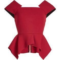Roland Mouret Wool Top (1,635 BAM) ❤ liked on Polyvore featuring tops, red, wet look top, red top, roland mouret top, zip peplum top and zip top