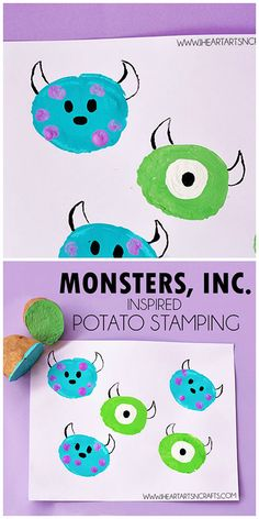 Monsters, Inc. Inspired Potato Stamping Monsters, Inc. Inspired Potato Stamping – Kids can create their own Sulley and Mike by reusing those old potatoes and creating some monster art! Disney Diy, Disney Crafts For Kids, Easy Crafts For Kids, Projects For Kids, Fun Crafts, Art For Kids, Beach Crafts, Disney Theme, Seashell Crafts