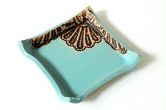 Handmade Moroccan Lace Mug in Turquoise by burningforkstudio