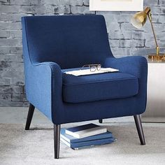In the Slate color, because I think the blue would be too much next to the other chair. Book Nook Armchair – Solids #westelm