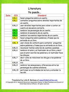 Classroom Freebies: Spanish Common Core Standards
