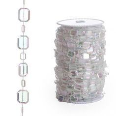 Beads By The Roll - Iridescent Emerald Cut Crystal (99 Feet) BEST SELLER! [ZZRL50-CRY Emerald Crystal Bead] : Wholesale Wedding Supplies, Discount Wedding Favors, Party Favors, and Bulk Event Supplies