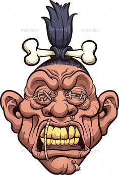 Buy Shrunken Head by memoangeles on GraphicRiver. Cartoon shrunken head with bone clipart. Vector illustration with simple gradients. Graffiti Cartoons, Graffiti Characters, Graffiti Art, Cartoon Faces, Dope Cartoon Art, Zombie Cartoon, Cartoon Head, Zombie Drawings, Easy Drawings