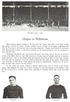 Recap of 1922 Oregon - Willamette football game.  From the 1923 Oregana (University of Oregon yearbook).  www.CampusAttic.com