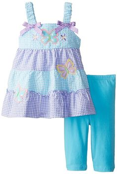 Amazon.com: Good Lad Baby Girls' Seersucker Butterfly Applique Legging Set, Light Blue, 24 Months: Clothing