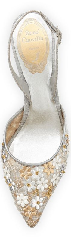 Rene Caovilla Metallic Floral Slingback Sandal, Silver