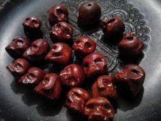 19ct Unique Handcarved Wooden Skull Beads by by SpiralHawkStudio, $11.00