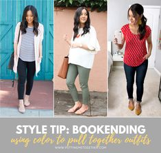 In spring and summer I want outfits with more color! In warmer weather you can't rely as much on layers to make outfits interesting, so incorporating color is one way to pull together outfits and make them pop. Today we're going to talk about another way to get color in your outfits--bookending!