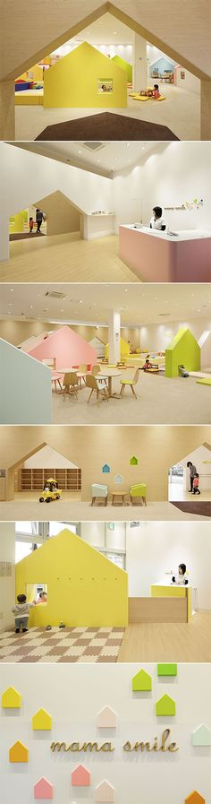 Mama Smile - Tokyo h. Kindergarten Interior, Kindergarten Design, Commercial Design, Commercial Interiors, Karton Design, Kids Zone, Learning Spaces, Modern Kids, Kid Spaces