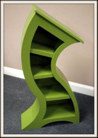 4ft green curved bookshelf