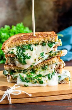 This easy cheesy vegan spinach pesto grilled cheese is ready to straight-up rock your socks off! This plant-based sandwich is SO MELTY and delicious!