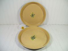 Oversized Round Metal Ivory Trays Set of 2 - Vintage Hand Painted Floral ToleWare Pair - Shabby Chic / BoHo Bistro Serving / Bakery Display $27.00  by DivineOrders