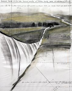 "Christo  Running Fence (Project for Sonoma County and Marin County, State of California)  Drawing 1975  28 x 22"" (71 x 56 cm)  Pencil, charcoal and ball-point pen  Photo: Wolfgang Volz  © 1975 Christo"
