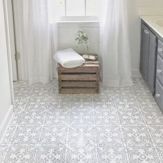 DIY Tutorial and Free Stencil Download- How to Paint Your Linoleum or Tile Floors to Look Like Patterned Cement Tile by Plum Pretty Decor and Design