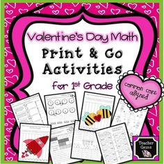 This Valentine's Day math print and go activity pack for first grade is packed full of fun activities! There are 27 printables which include cut and paste activities, worksheets, and puzzles. #TpT #TeacherGems