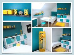 Décoration chambre enfant bleu et jaune - Pinterest Baby, Ikea, Decorating Tips, Baby Room, Kids Room, Child Room, Kitchen Decor, Toddler Bed, Relax