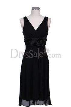 Tea-length Black Chiffon V-necked Evening Dress