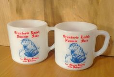 Grundsow Lodsh Nummer Sexa Milkglass Cup 8oz Groundhog Lodge PA Dutch Federal 76