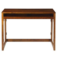 Casual Home Folding Desk with Pull-Out & USB Port-Warm Brown - 533-44