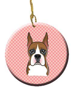 Checkerboard Pink Boxer Ceramic Ornament BB1223CO1