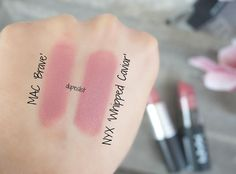 Swatches!  MAC 'Brave' (20,50€) vs. NYX Cosmetics (7,99€)  What do you guys think about this dupe?