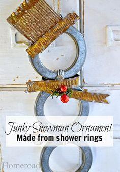 Cute little Junky Snowman ornament created from shower rings www.homeroad.net