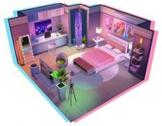 Sims 4 House Plans, Sims 4 House Building, Building Games, Sims Freeplay Houses, Sims 4 Houses, Room Ideas Bedroom, Bedroom Decor, Sims 4 Loft, Sims 4 Bedroom