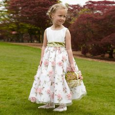 Nicki Macfarlane - Ivory Floral Organza 'Imogen' Ballerina Length Dress | Childrensalon