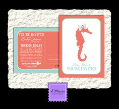50 Printed Coral and Teal Seahorse Baby Shower Postcard by dMariePapeterie, $43.95