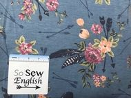 FT CHAMBRAY Floral Feathered Arrows - Poly Rayon Spandex French Terry - By the yard Yard Care, Arrows, French Terry, Knitted Fabric, Chambray, Spandex, Denim, Sewing, Knitting