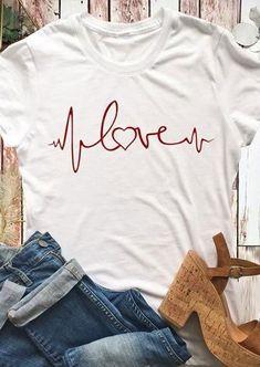 Love Heartbeat Short Sleeve T-Shirt T-shirts # Look T Shirt, Love Shirt, T Shirt Designs, Home T Shirts, Tee Shirts, Tees, Arrow T Shirt, Edgy Outfits, Nice Tops