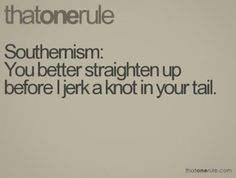 Southernism..you better straighten up before I jerk a knot in your tail