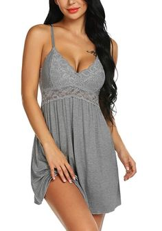 This sleepwear lingerie featuring V-neck and floral lace design with a flowy attractive bottom The design of V-neck and Floral Lace help you to show your beautiful lines,makes you more noble in the night Convenient adjustable straps comfortable to wear this women lace lounge dress nightgown This chemise is versatile able to be worn as a slip under your clothes or wear to bed as a nightgown,lingerie for women,sexy sleep dress